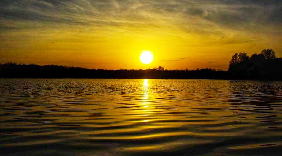 Sunset Reflection Lake Beauty In Nature Tranquil Scene Dramatic Sky Orange Color Gold Colored Amateurphotography Canon550D Eyeemphotography Lake View