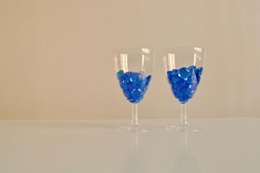 Celebration Drinking Glass No People Wineglass Indoors  Day Blue Diamonds Diamond Wine Glass Crystal Design Luxury Decoration Rich Life Beautiful Diamonds Diamond Life Accesories Hobby Blue