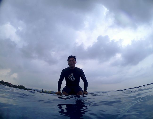Swimming Outdoors Vacations Adventure Water Travel Wetsuit Volcomsurf Adventures Cloud - Sky Bluesky Blue Sky One Man Only