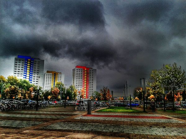 Berlin City City Collection Storm Cloud Stormy Weather Grey Clouds Cloudy Cloudscape Sky Cloud - Sky Skyscraper Skyscraper View Built Structure Architecture Building Exterior Cityscape Modern Outdoors Tree Outdoor Photography Hdr Scape .. Hdr_lovers Hdr_Collection Apartment Hdr Edit