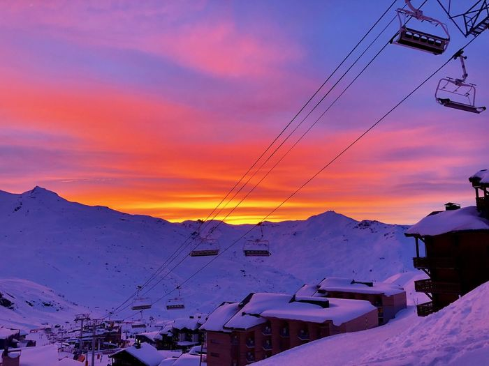 Sky Winter Mountain Snow Cold Temperature Cable Architecture Sunset House Mountain Range Nature Building Exterior Cloud - Sky Building Built Structure Beauty In Nature Cable Car Electricity  Scenics - Nature Snowcapped Mountain