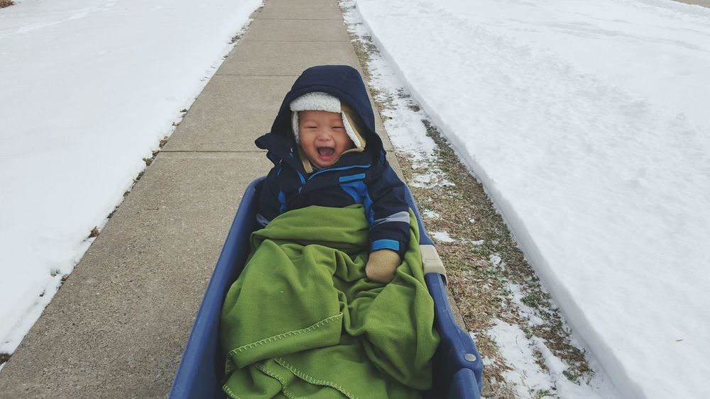 Baby Son Boy Asian  Kids Cute Child Play Cold Adventure Snow Winter Outside Winterwonderland Smile Happy Love Wagon