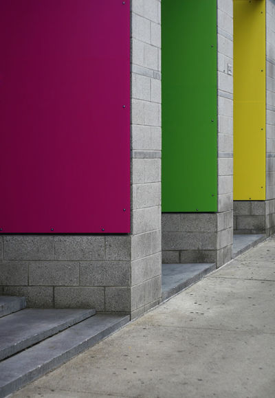 TRICOLORE Green Color Pink Urban Geometry Architecture Multi Colored Outdoors Walls Yellow Color