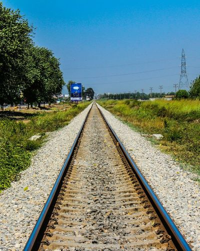 The Way Forward Tree Day Outdoors Nature Grass No People Beauty In Nature Clear Sky Sky Railroad Track Railway Railroad Railway Station Railways Rails Iran Mazandaran Mazandaran, Iran