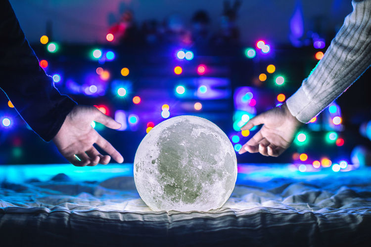 The future is yours to create🌙✨ Moon Celebration Light Lights Live for the Story . The couples holding the moon in romantic room. Celebration Light Lights Moon Moon Shots Night Lights Nightphotography Bokeh Bokeh Photography Close-up Crystal Ball Hand Illuminated Lifestyles Light And Shadow Moon Light Moon Surface Moon_collection Moonlight Moonrise Moonshine Night People Women