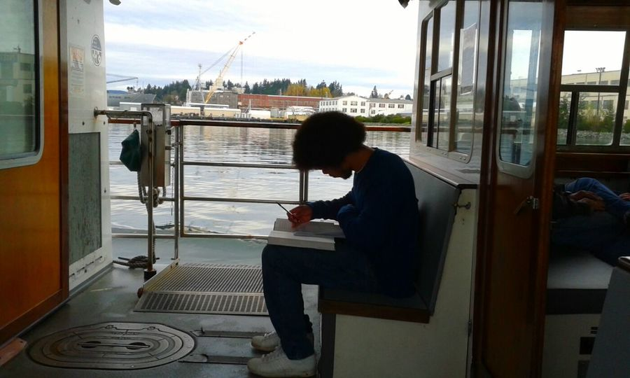 One Person Young Adult Ferry Boat Taking Photos Transportation Samsung Galaxy Camera Open Edit Studying Studying Hard Studentlife  Through My Eyes PNW Water Pacificnorthwest Washington State Puget Sound Autumn 2016 Travel Photography Stranger Strangeroftheday Strangerontheboat Stranger Photography
