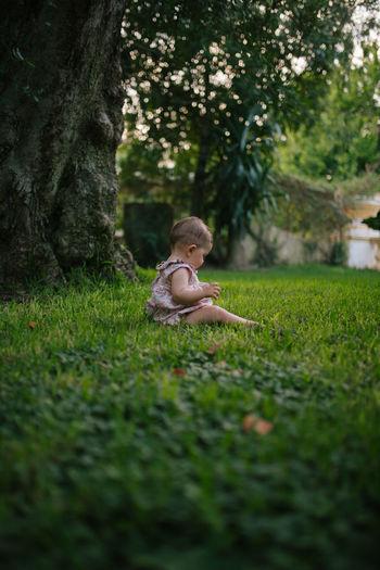 Cute baby girl sitting on grassy field