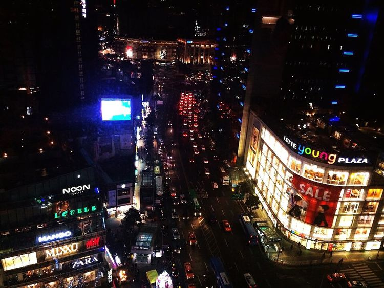 Night Night Lights Light City Cityscapes Cellphone Photography IPhoneography Taking Photos Check This Out Seoul MyeongDong South Korea City Lights City View