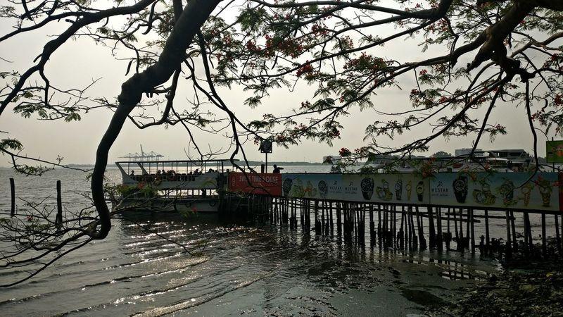 Marine Drive Ferry Boats water front Ernakulam Kerala