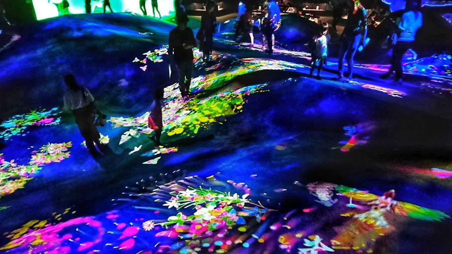 Floor Digital Art People Arts Culture And Entertainment People Watching Colors Light And Shadow Hello World Enjoying Life Art Installation Indoors  TeamLabBorderless Team Lab チームラボ Tokyo,Japan EyeEm Best Shots Multi Colored Illuminated
