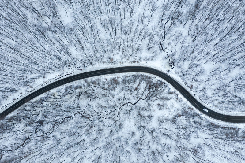 Aerial view of road amidst snow covered forest