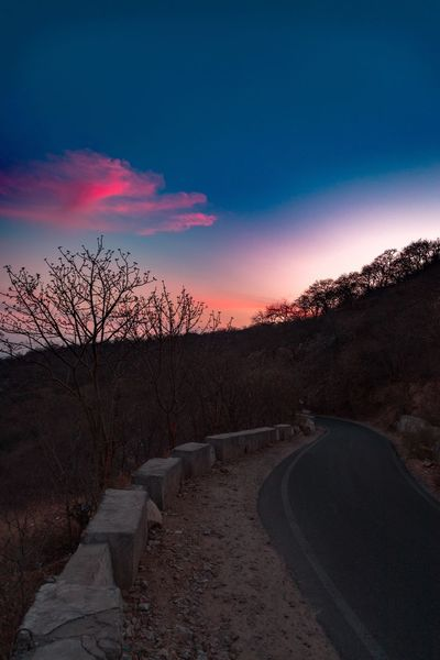 Road less travelled Sky Sunset Nature Cloud - Sky Road Scenics - Nature Tranquility No People Beauty In Nature Tree Land Landscape Tranquil Scene Non-urban Scene Field Environment Idyllic Transportation Plant Outdoors