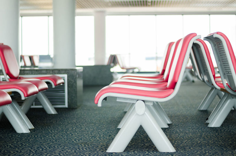 Airport Empty Furniture In A Row Modern No People Red Seat