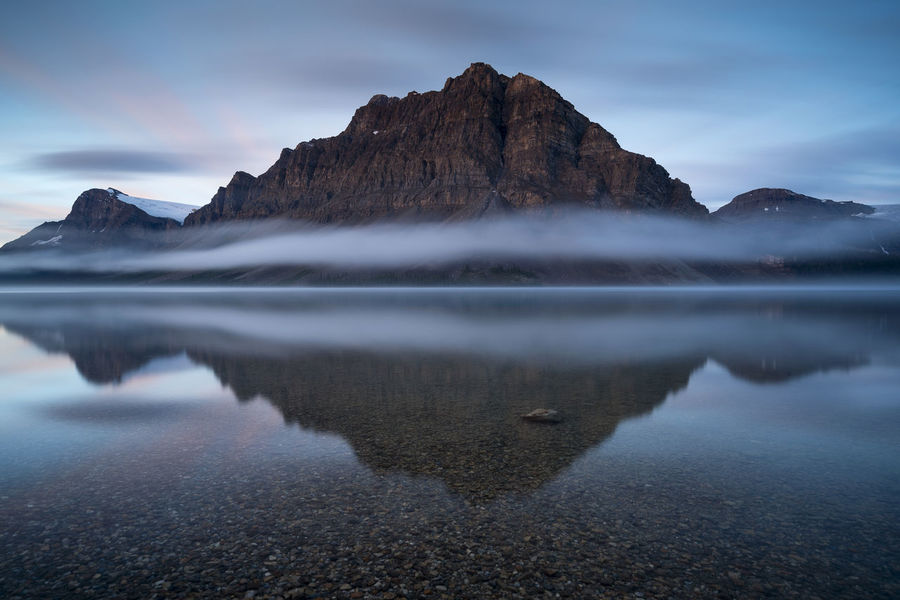 Sunrise over at Bow Lake - Banff Banff  Beauty In Nature Blue Bow Lake Calm Lake Long Exposure Majestic Mountain Nature Nature Outdoors Photography Reflection Scenics Standing Water Tranquil Scene Tranquility Travel Destinations Water