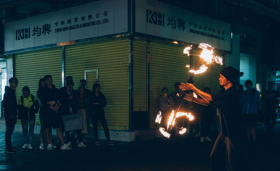 Flow Arts Burning First Eyeem Photo Flame Heat - Temperature Juggling Men Night Outdoors People Performance Real People Sky Street Photography