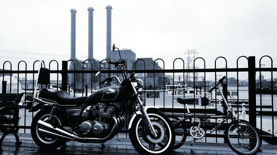 How Do We Build The World? Bike On Bike Bike Vs Motorcycle Smoke Stacks Harbour Providence Electric Company Power Plants EyeEmEyeEm Best Shots - Black + White Eyemphotography EyeEm Gallery S6 Need For Speed
