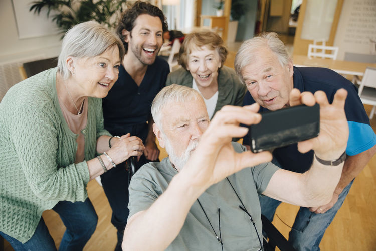 Group of people on smart phone