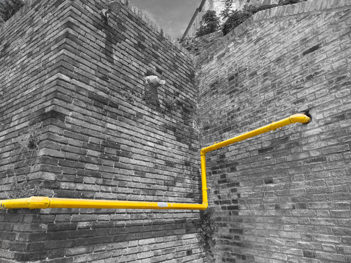 Color Filter Day No People Outdoors Perspective Pipe Wall Yellow