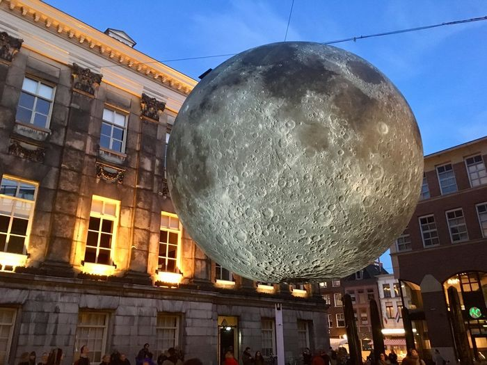 Moonlanding in Groningen (city). Architecture Building Exterior Built Structure Sphere Building Low Angle View Illuminated City Lighting Equipment