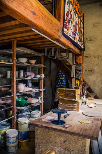 Atelier Clay Crockery Day Indoors  No People Place Of Work Pottery Shelfes Wood - Material Work Tool Working Space Workshop