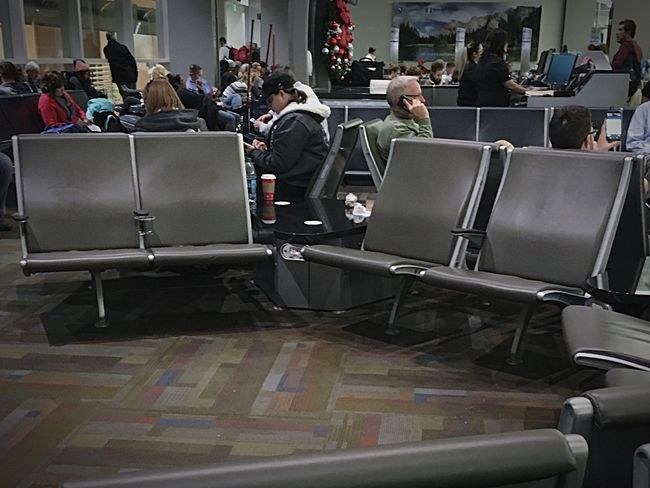 Waiting Game Men People Adult Day Airport Empty Seats Indoors