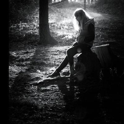 Young Women One Person Sitting Blond Hair Forest Outdoors Hanging Out Eye4photography  Blackandwhite Monochrome Walking