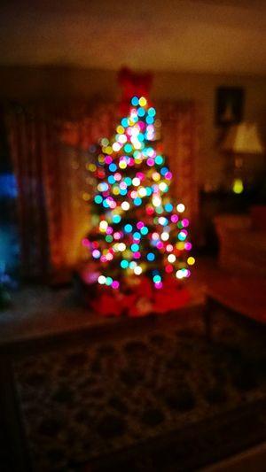 Illuminated Defocused Multi Colored Glowing Christmas Tree Christmas Lights Christmas Decorations Winter Holiday
