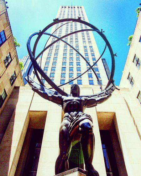 Holding the heavens Atlas Rockefeller Center Blue Sky Building Architecture Sky Building Exterior Built Structure Statue Sculpted Ornate