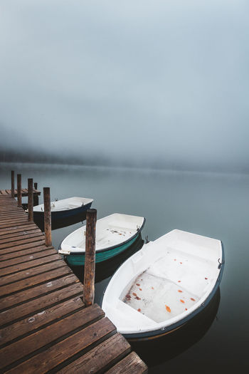 Water Wood - Material Pier Tranquility No People Beauty In Nature Nature Lake Sky Day Empty Scenics - Nature Tranquil Scene Absence Jetty Outdoors Table Pier Boats Foggy Morning Fog Over Water Mist Fall Beauty Nautical Vessel Nature_collection