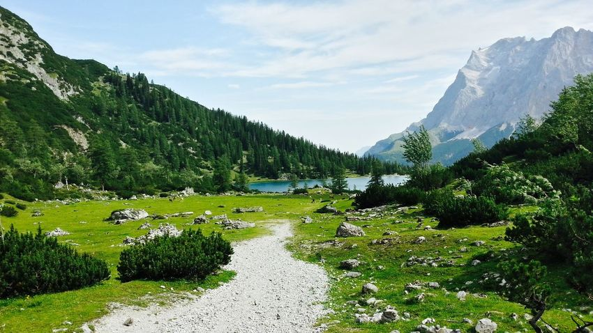 Mountains And Sky Austria Green Grass Relaxing Silent Moment Stunning Place