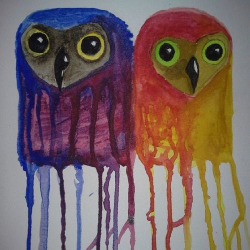 Watercolor Hillaryhale Owls Duowlity painteverything