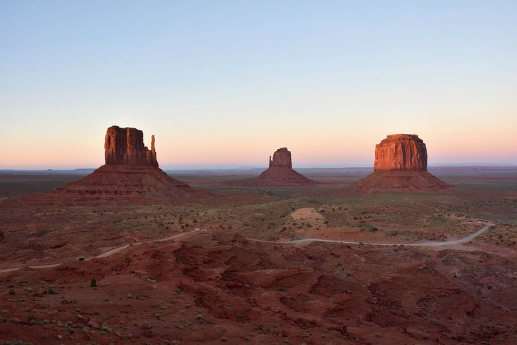 Geology Mitten Butte Monument Valley Navajo Nation Rock Formation Scenics Sunset Tranquil Scene Travel Destinations