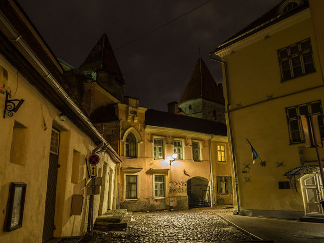 Estonia MedievalTown Nightphotography Old Town World Heritage Architecture Building Exterior Built Structure Former Soviet Union Illuminated Medieval Architecture Night No People Outdoors Stone Stone Wall