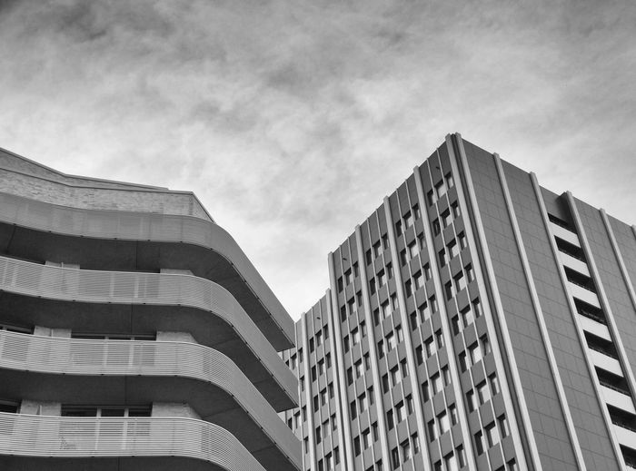 rounded vs. straight lines. Berlin, Germany. Architecture B&w Balconies Balcony Black & White Black And White Black&white Blackandwhite Building Building Exterior City City Life City Street Citylife Concrete Daylight Lines Moody Moody Sky Outdoor Outdoors Rounded Sky Sky And Clouds Windows
