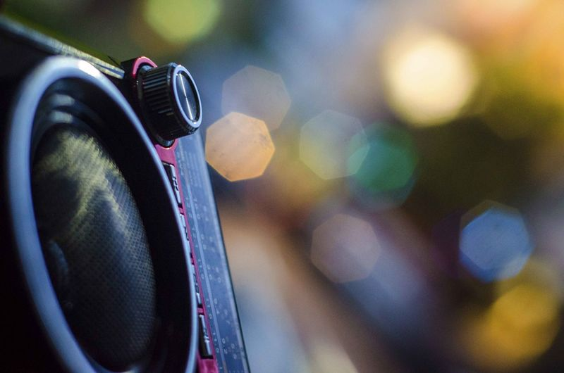 Close-up of camera in car
