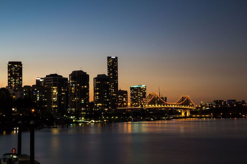 City of Brisbane Architecture Night Building Exterior Built Structure City Life Waterfront Modern Travel Destinations Light City Lights Illuminated EyeEm Selects Tranquil Scene