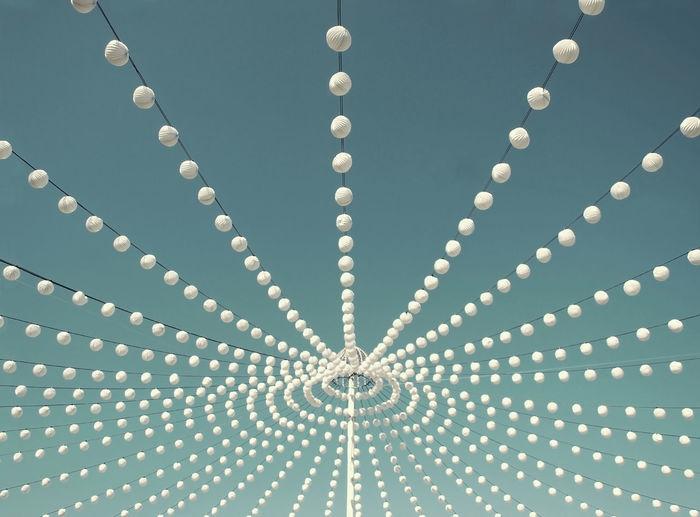 Abstract Blue Sky Celebration Decoration Lanterns Lights Minimalism Ornate Pattern Still Life