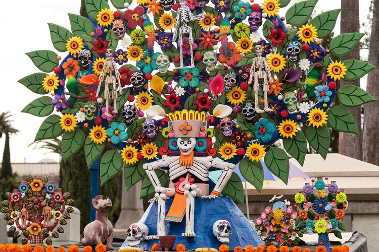 Flower and skeleton alter at Dia de los Muertos, Day of the dead, in Los Angeles at the Hollywood Forever Cemetery grounds. Editorial use only. All Saints Day Alter Celebration Day Of The Dead Dead Death Dia De Los Muertos Flower Halloween Memory Offering Remembrance Skeleton Skull