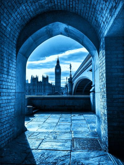 Big Ben - Houses of Parliament, London Clock Archway Blue Thames Westminster Big Ben Architecture Built Structure Building Exterior City Travel Destinations Day No People Outdoors Cityscape Sky Politics And Government EyeEmNewHere