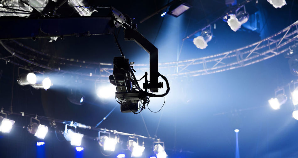 Low Angle View Of Illuminated Lighting Equipment