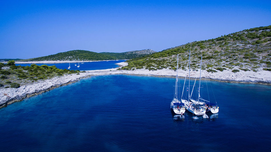 Yacht buddies in bay Croatia Perspectives On Nature Phantom 4 Bay Beauty In Nature Blue Buddy Clear Sky Dji Nautical Vessel Outdoors Sailboat Sailing Sea Transportation Water Yacht Go Higher