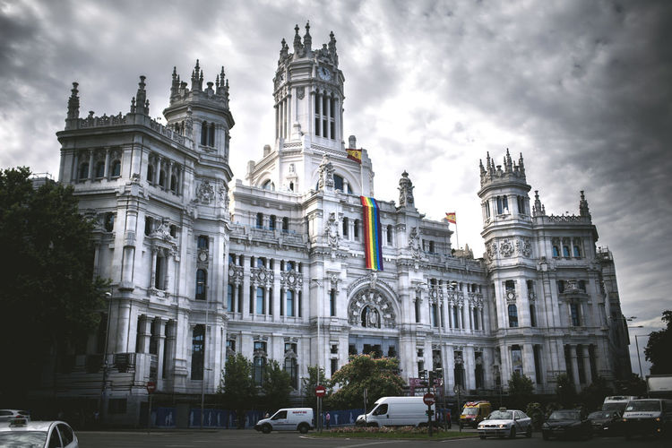 Madrid Spain Architectural Column Architecture Building Building Exterior Built Structure Car City Cloud - Sky Day History Incidental People Land Vehicle Mode Of Transportation Motor Vehicle Nature Outdoors Sky The Past Tourism Transportation Travel Travel Destinations