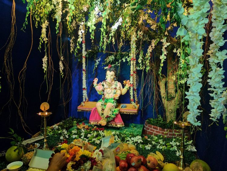 Indian Festival of Lord Ganpati..!! Flower Celebration No People Tree Night Photography Christmas Tree Christmas Decoration Christmas Christmas Ornament Indoors