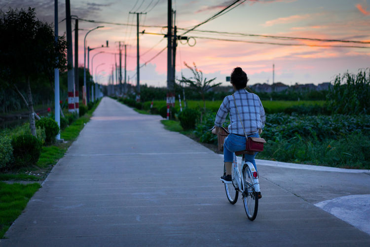 Rear view of woman riding bicycle on road during sunset