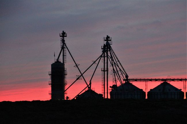 sun sets over this farm in Geneseo, NY Silos Architecture Built Structure Colorful Sky At Night No People Outdoors Rural Farming Silhouette Sky Sunset