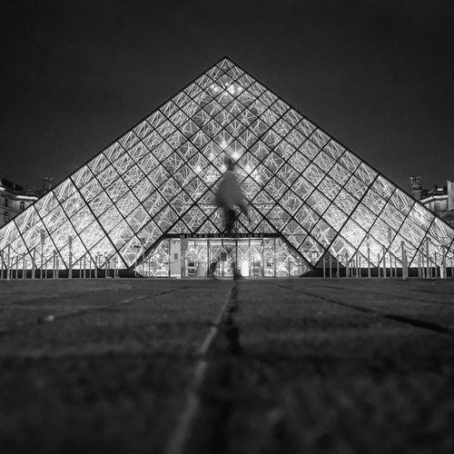 Pyramide Ghost Night Architecture Outdoors Pyramid The Collection The Week On EyeEem Motion Bnw Nightphotography Monochrome Paris City Urban Street Building Exterior Long Exposure Street Light Eyeem Collection HUAWEI Photo Award: After Dark