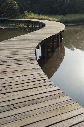 Pier on footbridge over river