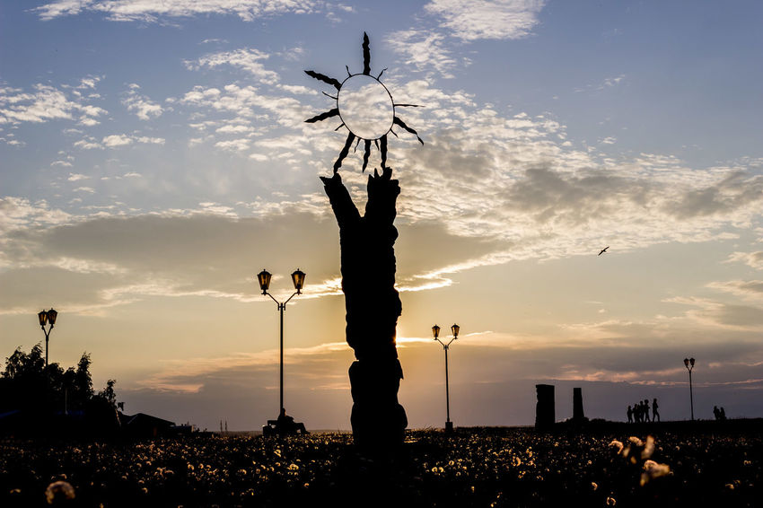 Silhouette Sunset Outdoors Cloud - Sky Travel Destinations Sky Cloud No People Statue City Russia Karelia карелия Россия Beauty Amazing Abstract Statue Streetphotography Street City Evening Summer Warm Wood
