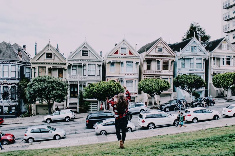 Pink Ladies #Usa #SanFrancisco #colors #pinkladies #paintedladies Built Structure Architecture Mode Of Transport Car Only Men Adults Only Transportation Outdoors