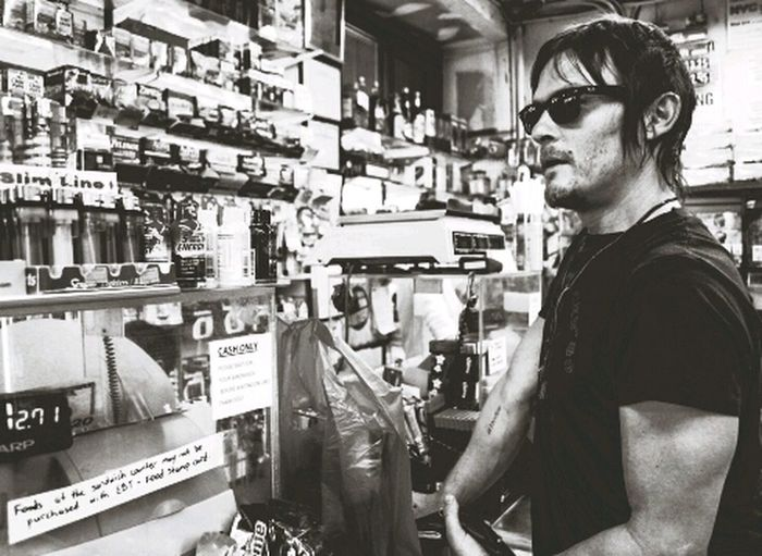 Norman Reedus Black And White The Walking Dead
